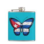 Cuban Butterfly Flag Hip Flask