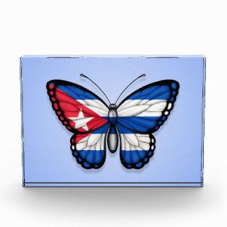Cuban Butterfly Flag on Blue Acrylic Award
