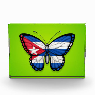 Cuban Butterfly Flag on Green Award