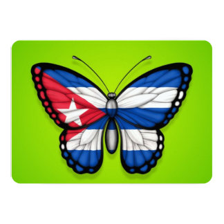 Cuban Butterfly Flag on Green Personalized Invitation