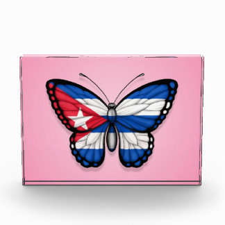 Cuban Butterfly Flag on Pink Awards