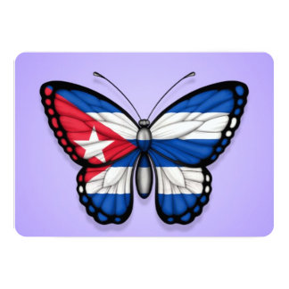 "Cuban Butterfly Flag on Purple 5"" X 7"" Invitation Card"