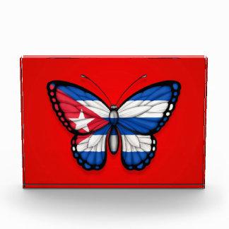Cuban Butterfly Flag on Red Acrylic Award