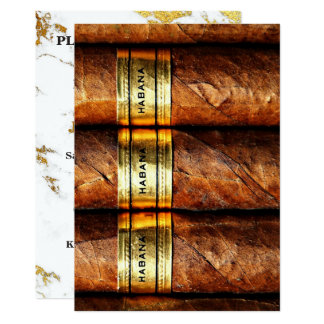 Cuban Cigars Habana Invitation Marble Gold Carrara