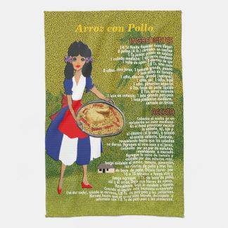 Cuban Cuisine Recipe Kitchen Towel-Arroz con Pollo Hand Towel