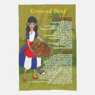 Cuban Cuisine Recipe Kitchen Towel-Ground Beef