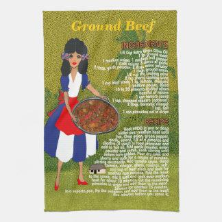 Cuban Cuisine Recipe Kitchen Towel-Ground Beef Towels