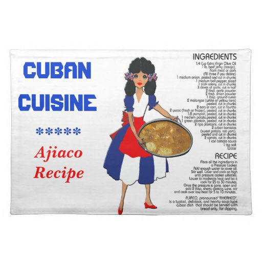 Cuban Cuisine Recipe Placemat - Tropical soup