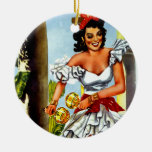 Cuban Dancer Vintage Travel Double-Sided Ceramic Round Christmas Ornament