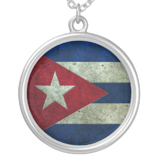 Cuban Flag Aged Steel Effect Silver Plated Necklace