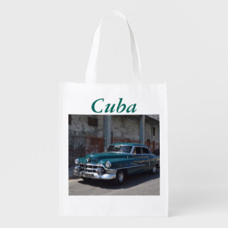 Cuban Flag Cuba Old Car Grocery Bag