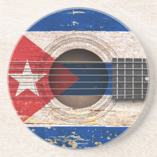 Cuban Flag on Old Acoustic Guitar Drink Coasters