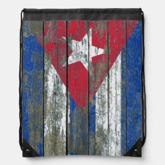 Cuban Flag on Rough Wood Boards Effect Drawstring Backpack