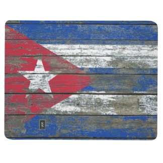 Cuban Flag on Rough Wood Boards Effect Journal