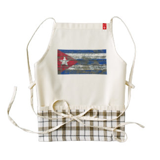 Cuban Flag on Rough Wood Boards Effect Zazzle HEART Apron