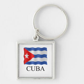 Cuban flag Silver-Colored square keychain