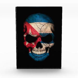 Cuban Flag Skull on Black Acrylic Award