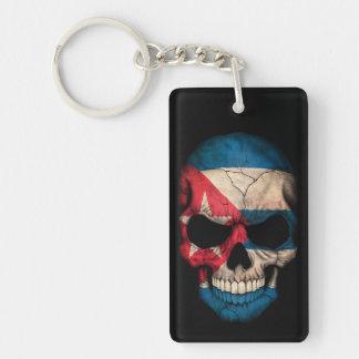 Cuban Flag Skull on Black Double-Sided Rectangular Acrylic Keychain