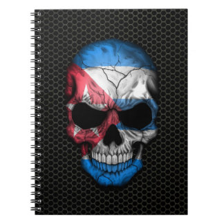 Cuban Flag Skull on Steel Mesh Graphic Spiral Notebook
