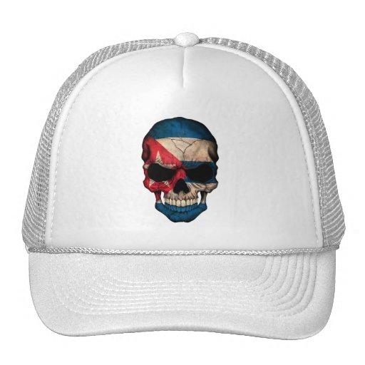Cuban Flag Skull Trucker Hat