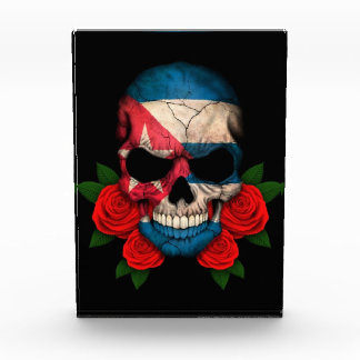 Cuban Flag Skull with Red Roses Acrylic Award