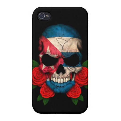 Cuban Flag Skull with Red Roses Covers For iPhone 4