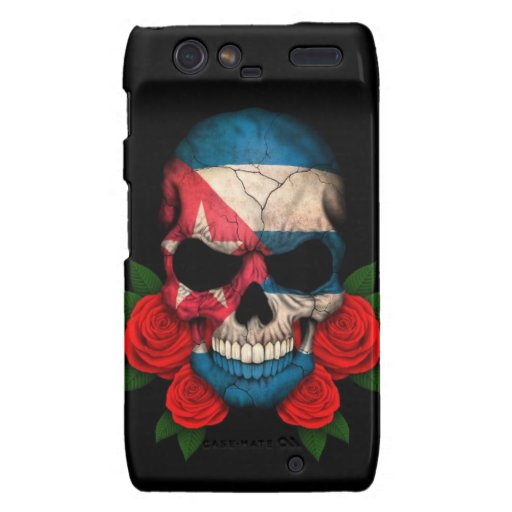 Cuban Flag Skull with Red Roses Droid RAZR Cover