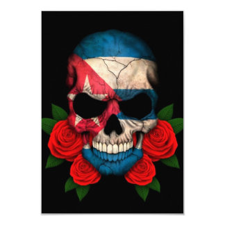 Cuban Flag Skull with Red Roses Personalized Invitation