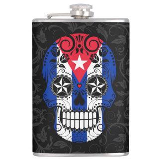 Cuban Flag Sugar Skull with Roses Flask