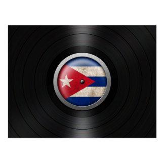 Cuban Flag Vinyl Record Album Graphic Postcard