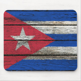 Cuban Flag with Rough Wood Grain Effect Mouse Pad