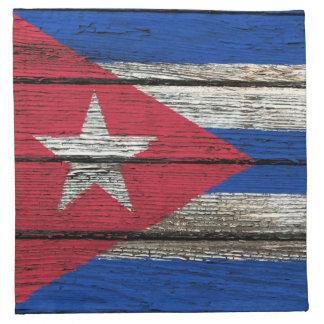 Cuban Flag with Rough Wood Grain Effect Napkin