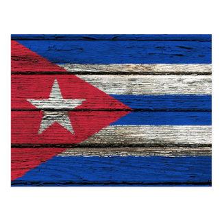 Cuban Flag with Rough Wood Grain Effect Postcard