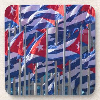 Cuban flags, Havana, Cuba Drink Coaster