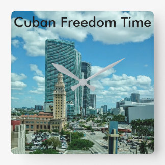 Cuban Freedom Tower in Miami Square Wall Clock