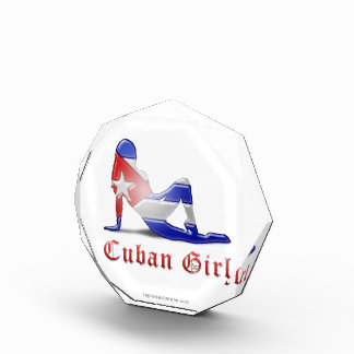 Cuban Girl Silhouette Flag Awards