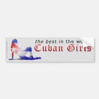 Cuban Girl Silhouette Flag Bumper Sticker
