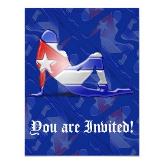 Cuban Girl Silhouette Flag Card
