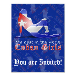 Cuban Girl Silhouette Flag Card