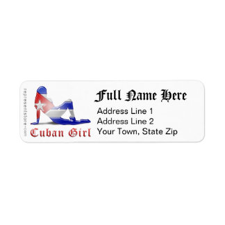 Cuban Girl Silhouette Flag Label