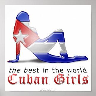 Cuban Girl Silhouette Flag Poster