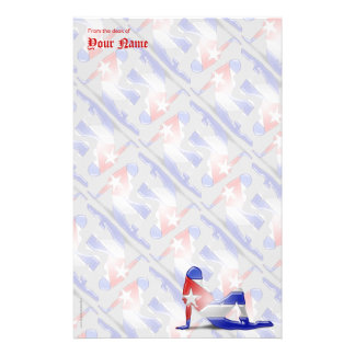 Cuban Girl Silhouette Flag Stationery