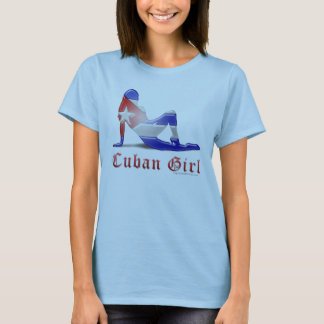 Cuban Girl Silhouette Flag T-Shirt