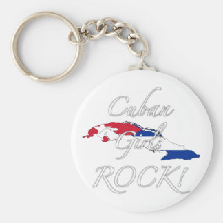 Cuban Girls Rock! Basic Round Button Keychain