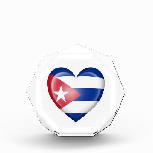 Cuban Heart Flag on White Awards