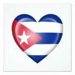 Cuban Heart Flag on White 5.25x5.25 Square Paper Invitation Card