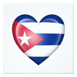 Cuban Heart Flag on White Custom Announcements