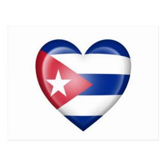 Cuban Heart Flag on White Postcard