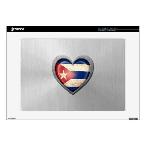 "Cuban Heart Flag Stainless Steel Effect 15"" Laptop Skins"