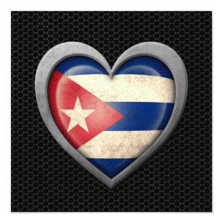 Cuban Heart Flag Steel Mesh Effect Custom Announcement